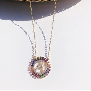 Initial A multicolored rhinestone necklace